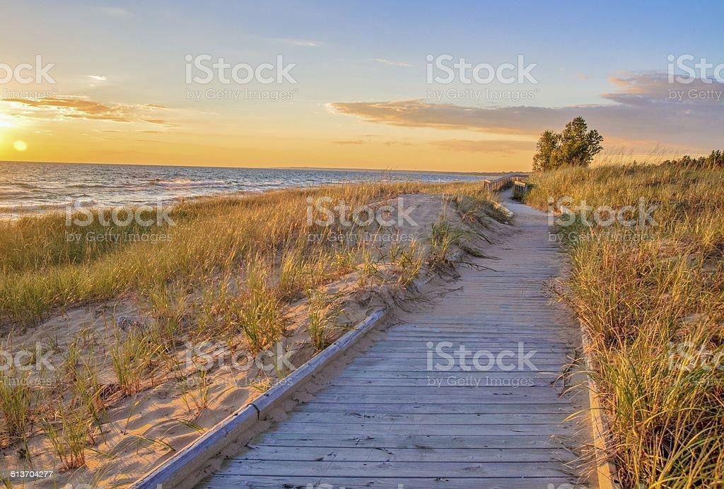 Boardwalk Beach stock photo