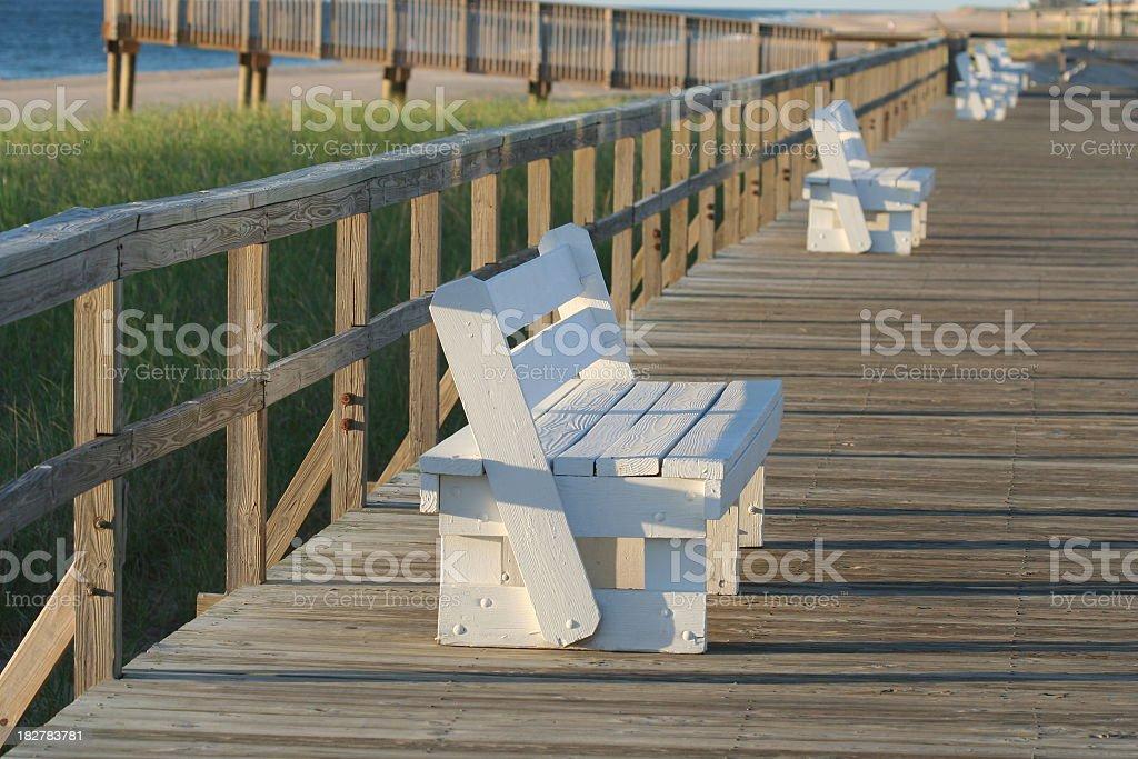 Boardwalk benches stock photo