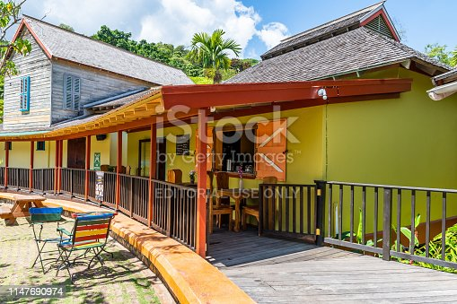Ocho Rios, Jamaica - April 23 2019: Boardwalk Bistro Restaurant, a quaint little shop for Jamaican food/meals at Island Village Shopping & Entertainment near the Cruise Ship Port in Ochi, Saint Ann