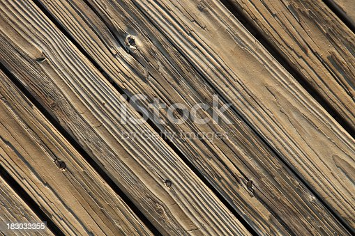 Jersey Shore Boardwalk boards background in early morning light. Shot looking straight down at boards on diagonal.