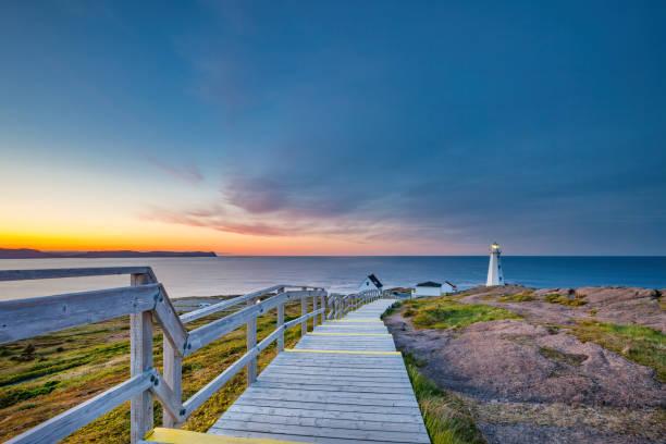 Boardwalk Cape Spear Lighthouse Newfoundland Canada stock photo