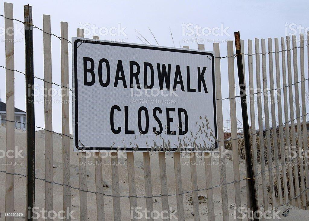 Boardwalk Closed Sign stock photo