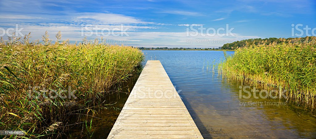 Boardwalk Dock on Remote Lake under Cloudy Summer Sky royalty-free stock photo