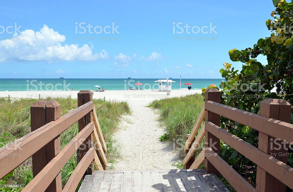Boardwalk entrance to Miami Beach stock photo