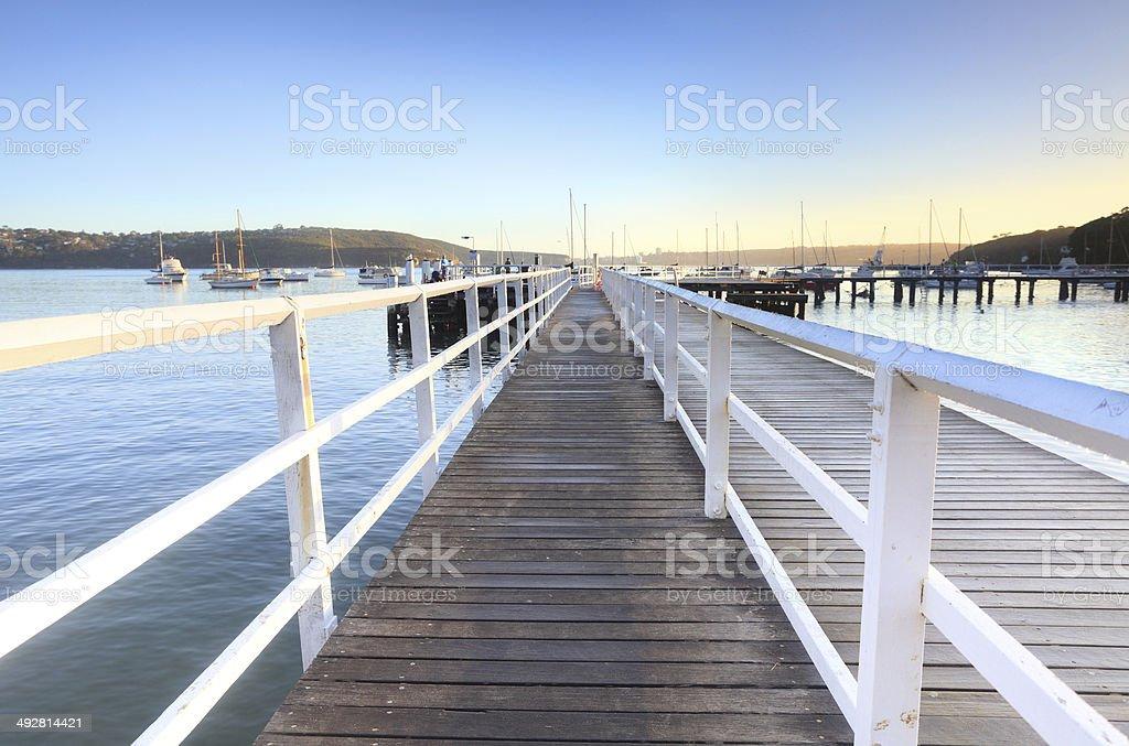 Boardwalk jetty at Balmoral Beach early morning stock photo