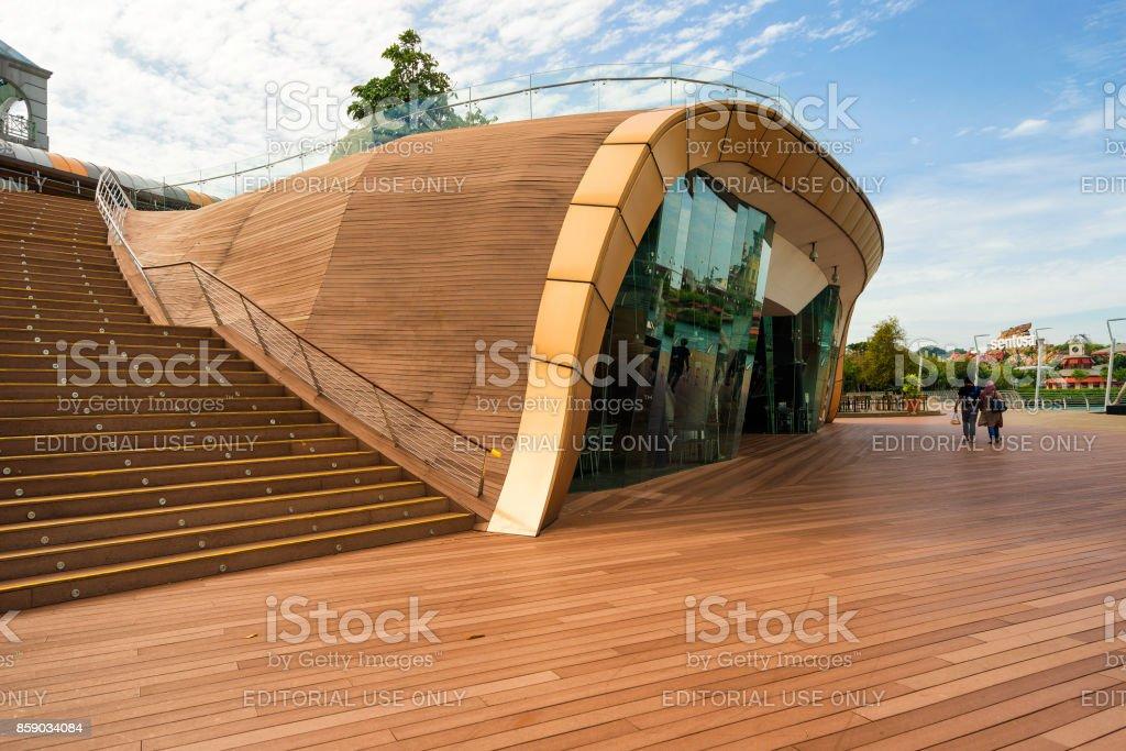 Boardwalk lead to Sentosa Island in Singapore stock photo