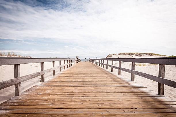 Boardwalk leading onto the beach stock photo