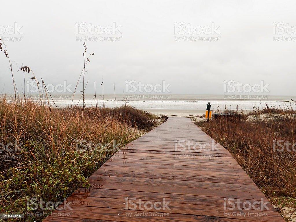 Boardwalk leading to beach on Kiawah Island, South Carolina stock photo