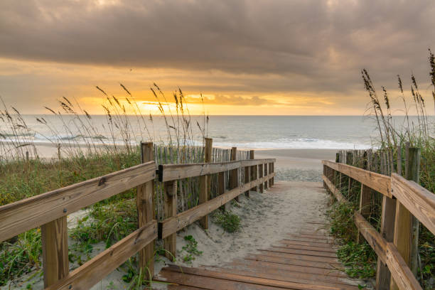 Boardwalk Leading to the Beach at Sunrise Sunrise along boardwalk over a sand dune in Myrtle Beach, South Carolina south carolina stock pictures, royalty-free photos & images
