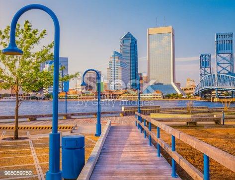 wooden boardwalk, wooden wharf, Jacksonville wharf, Jacksonville Riverwalk, John T. Alsop Jr. Bridge