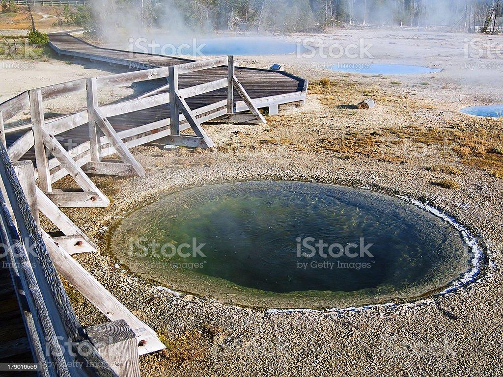 Boardwalk Meandering through Steaming West Thumb Geyser Basin Pools royalty-free stock photo