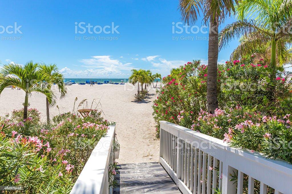 Boardwalk on beach in St. Pete, Florida, USA stock photo