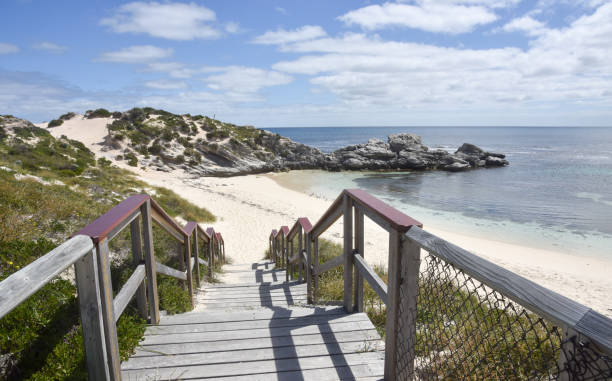 boardwalk on remote rottnest - outcrop stock pictures, royalty-free photos & images
