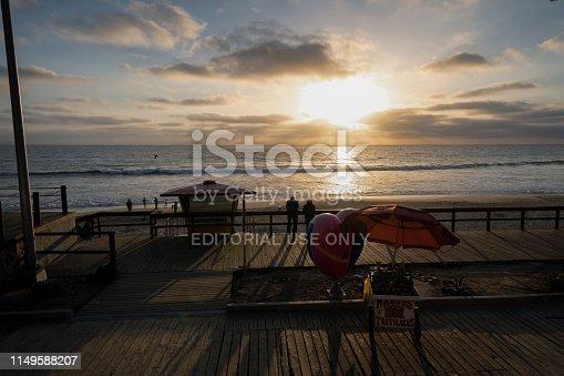 Tijuana, Mexico, May 2, 2019 - Sunset on the boardwalk of Tijuana, Mexico