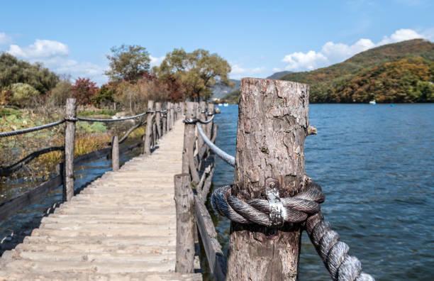 Boardwalk over Han River on Nami Island in South Korea stock photo