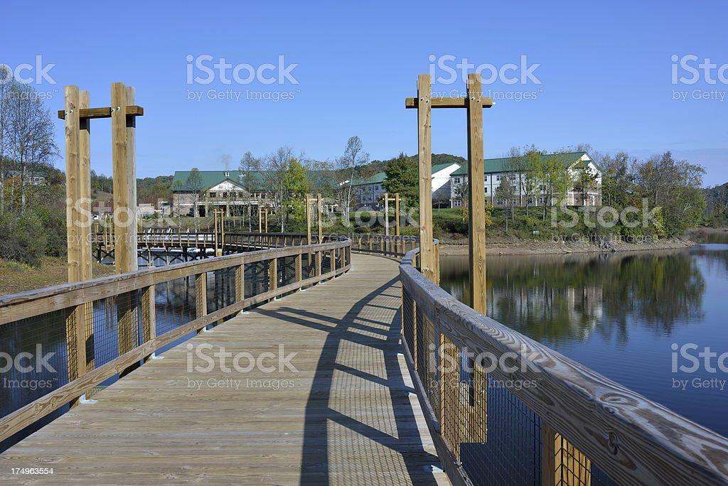 Boardwalk over Lake stock photo