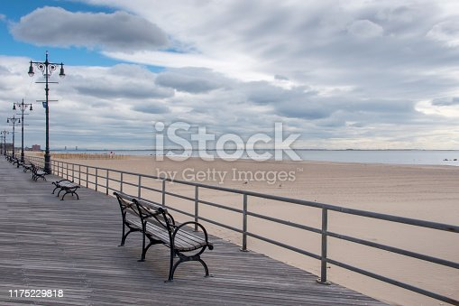 Empty benches at the Riegelmann Boardwalk at Coney Island, New York.
