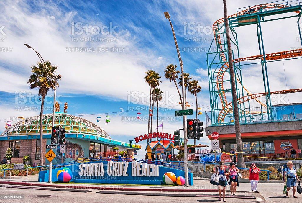 Boardwalk Santa Cruz with Visitors stock photo