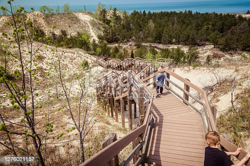 Boardwalk steps down a dune at Indiana Dunes National Park