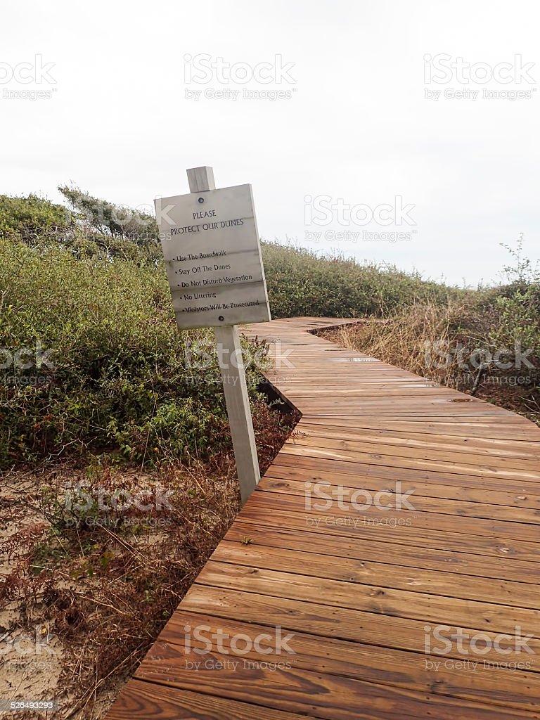 Boardwalk through Dunes at Kiawah, South Carolina stock photo