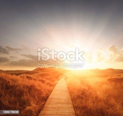 Boardwalk through the dunes into the sun