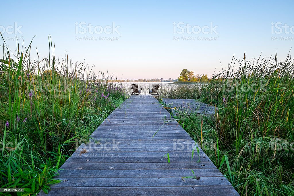 Boardwalk to a Lake Early in the Morning stock photo