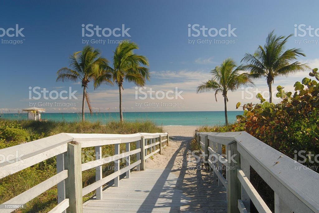 Boardwalk to Beach in Florida stock photo
