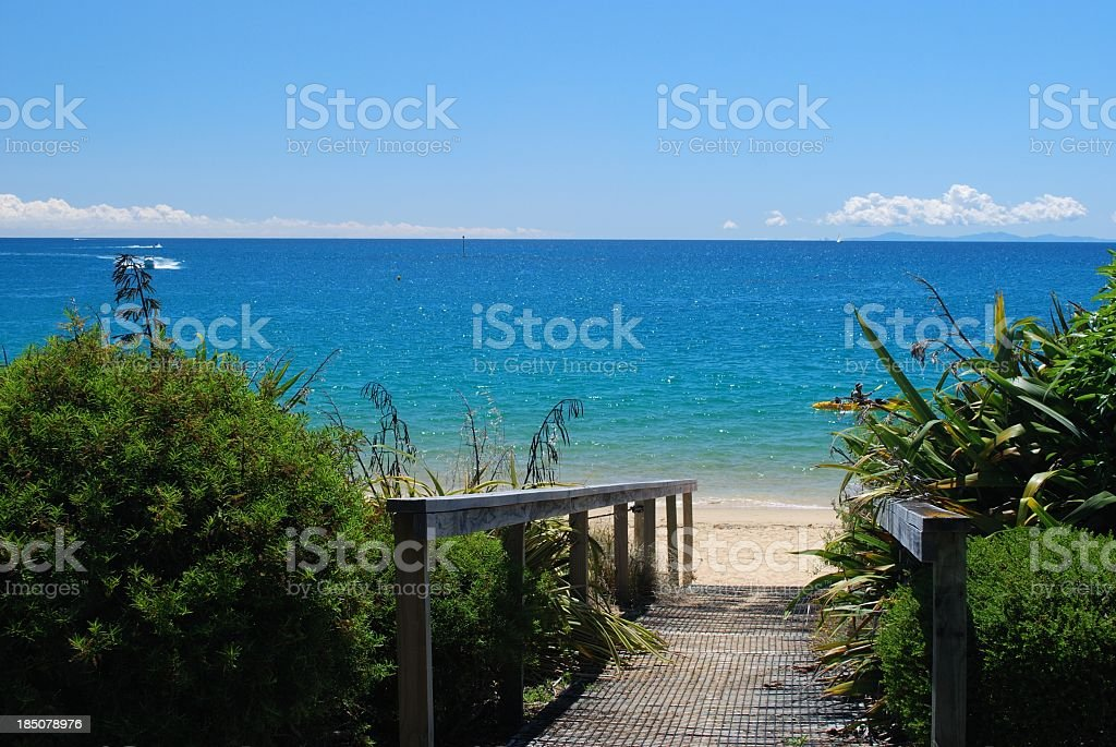 Boardwalk to Beach, Kaiteriteri, Tasman Region, New Zealand stock photo