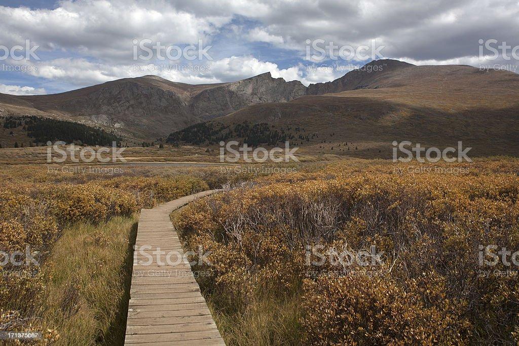 Boardwalk to Mount Bierstadt Colorado stock photo