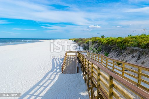 A wheelchair accessible ramp leading to the beach at Matanzas Inlet near St. Augustine, Florida.