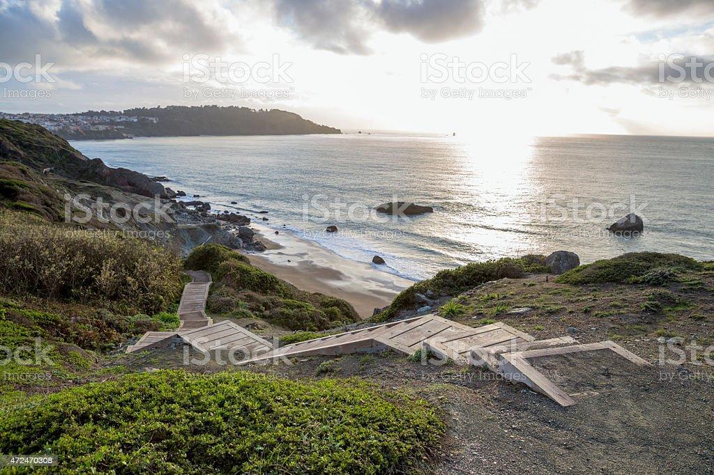 Boardwalk To The Beach in San Francisco stock photo