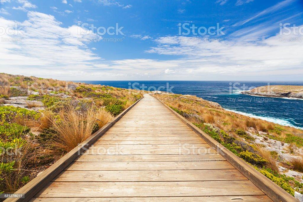 Boardwalk to the coast stock photo