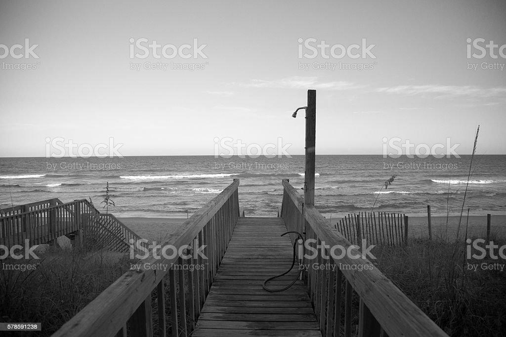 Boardwalk View of ocean stock photo