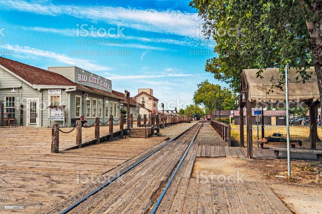 Boardwalk Views Old Town Sacramento California stock photo