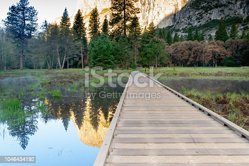 Boardwalk with the reflection at sunrise, Yosemite Park