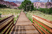 Boardwalks and hiking trails in the Red Rock Canyon National Conservation Area, Calico Basin division
