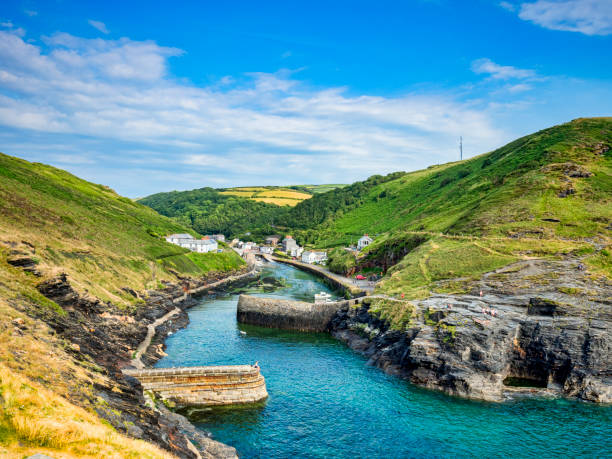 Boascastle Harbour, Cornwall, UK with Beautiful Blue Sky stock photo