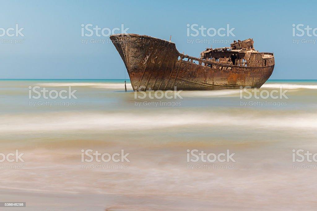 Boat aground. stock photo