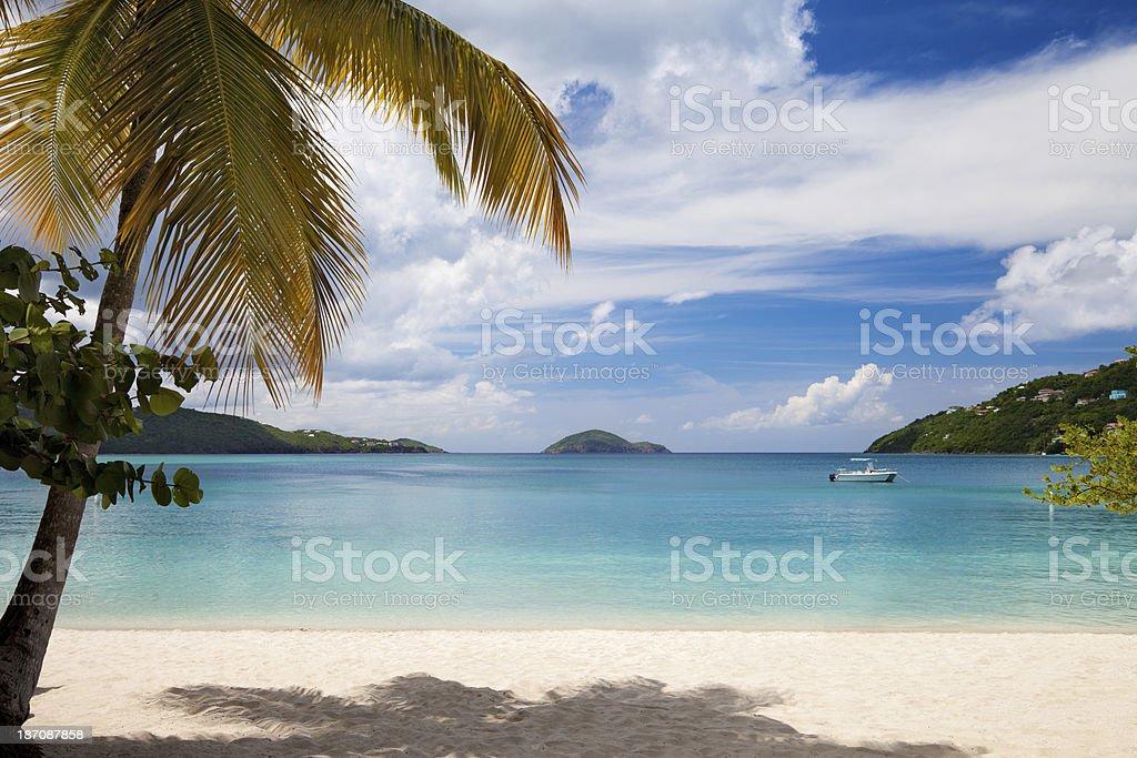 boat anchored in Magens Bay, St. Thomas, US Virgin Islands stock photo