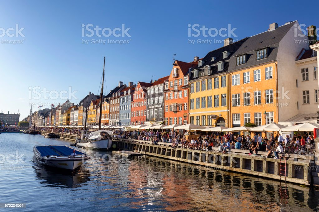 Boat and Canal in Copenhagen stock photo
