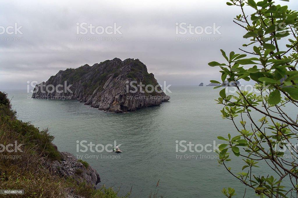 Boat and Island. stock photo