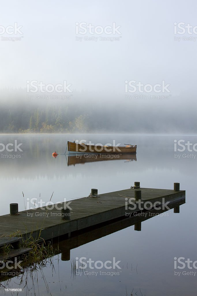 Boat and Jetty, Loch Ard, The Trossachs, Scotland. royalty-free stock photo