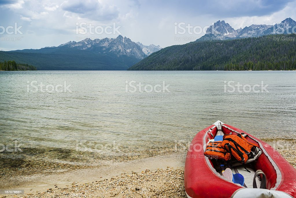 Boat and Lake, Stanley, Idaho stock photo