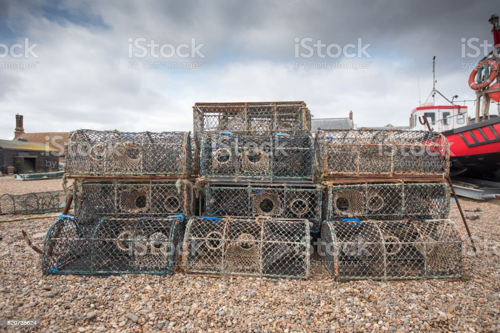 Boat and Lobster Pots. stock photo