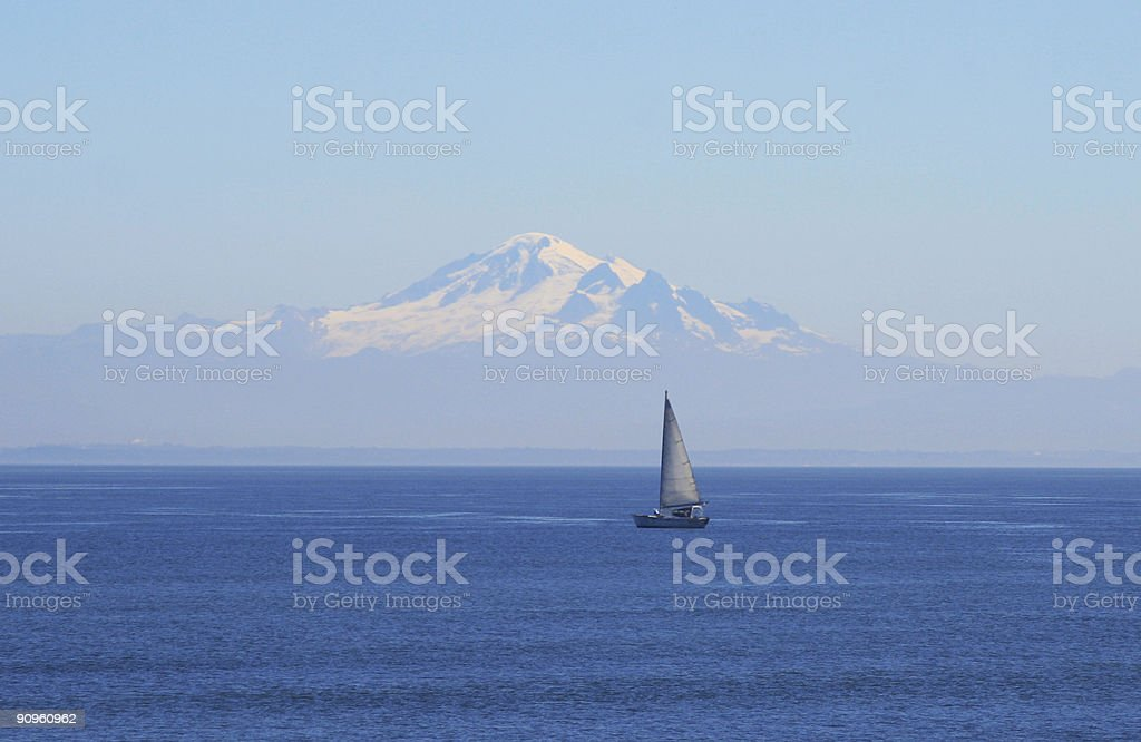Boat and Mountain royalty-free stock photo