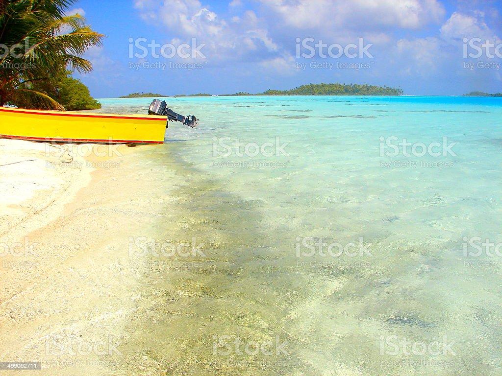 Boat and Rangiroa motu turquoise waters, Polynesia royalty-free stock photo