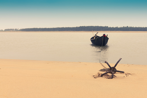 istock Boat and river at Tajpur, West Bengal, India 1139504143