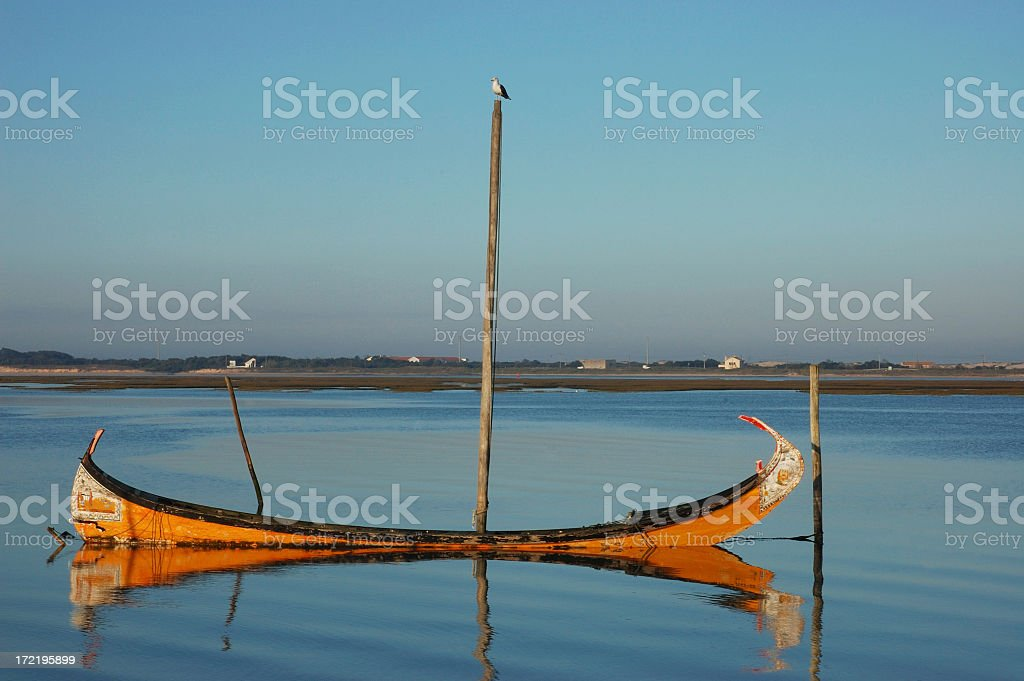 Boat and seagull royalty-free stock photo
