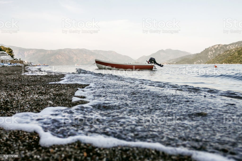 boat and shore stock photo