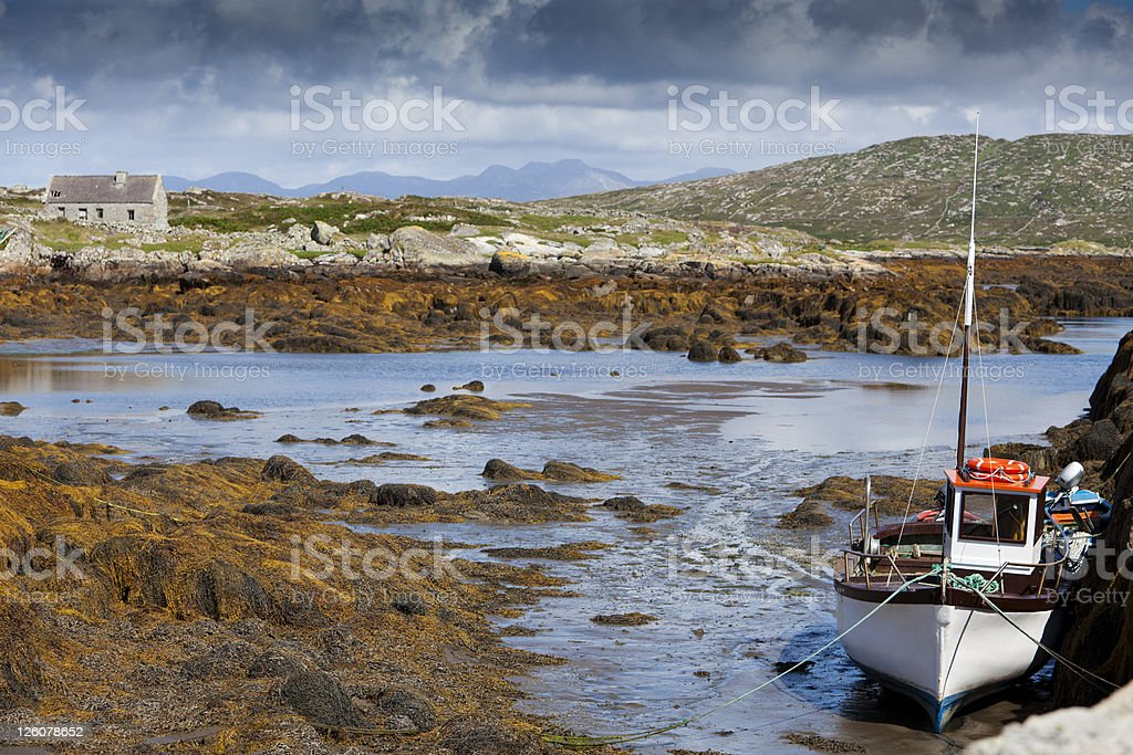 Boat and tide stock photo